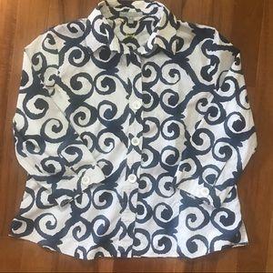 Foxcroft Button Down Navy & White Plus Size